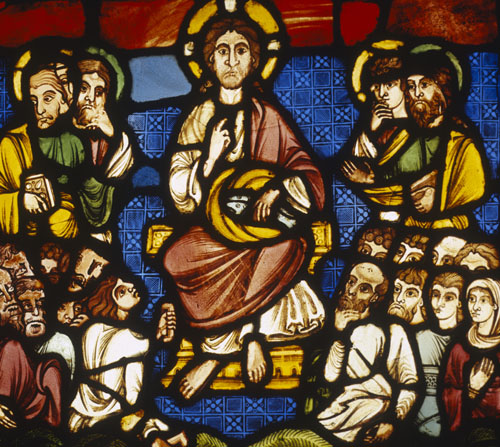 Christ feeding the five thousand with two loaves and five fish, 13th century stained glass, Victoria and Albert Museum, London, England, Great Britain