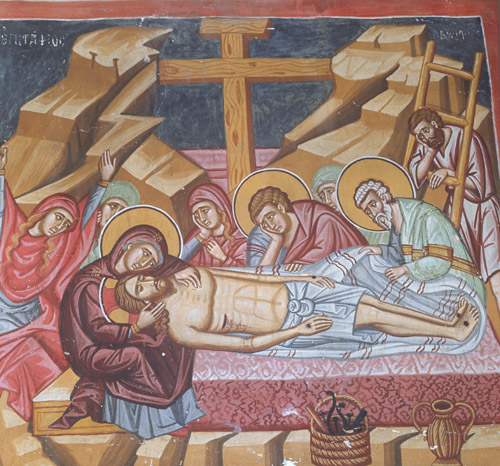 Lamentation, 15th century wall painting by Philip Goul, Church of the Holy Cross, Platanistasa, Cyprus