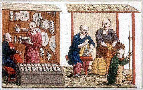 Chinese porcelain shop,  engraving from La Chine en miniature, 1811, volume II, by Jean Baptiste Joseph Breton de la Martiniere
