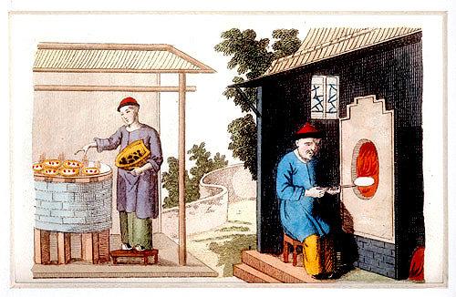 Firing Chinese porcelain, engraving from La Chine en miniature, 1811, by Jean Baptiste Joseph Breton de la Martiniere