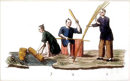 First step in paper making process, engraving from La Chine en miniature, 1811, by Jean Baptiste Joseph de la Martiniere