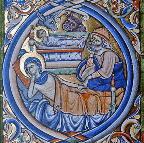 A detail of the Nativity, Winchester Bible, 12th century