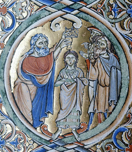 Samuel annointing David, 12th century illumination from the Winchester Bible, Winchester Cathedral Library, England
