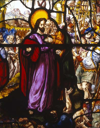 Betrayal, German stained glass panel circa 1500, Church of St Mary, Shrewsbury, Shropshire, England, Geat Britain