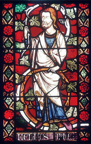 Elijah, detail from fourteenth century Jesse window, St Mary