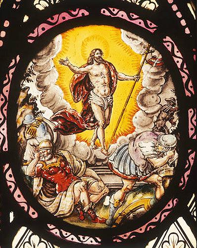Resurrection, Netherlandish enamel-painted panel, 16th or 17th century, Church of St-Mary-the-Virgin, Addington, Buckinghamshire, England