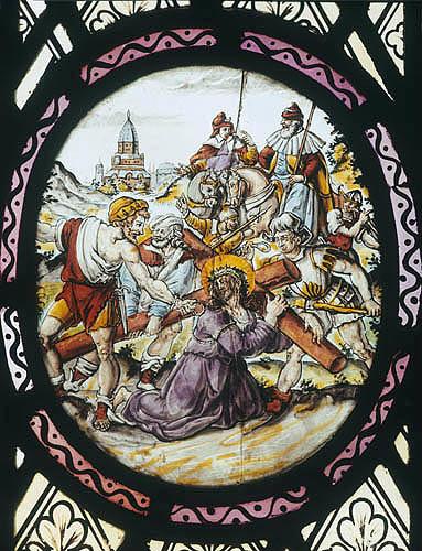 Christ falling under weight of the Cross, Netherlandish enamel-painted panel, sixteenth or seventeenth century, Church of St Mary the Virgin, Addington, Bucks, England