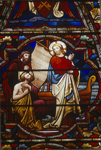 Calling of Andrew and Peter by Jesus at Gallilee, 19th century stained glass, Lincoln Cathedral, Lincolnshire, England, Great Britain