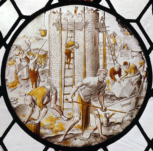 England, Bishopsbourne, Kent, the Tower of Babel 17th century Dutch stained glass