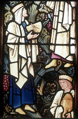 Ahaz with sundial, detail from the Jesse Tree, 19th century stained glass by Edward Burne-Jones, Rottingdean Church, Sussex, England, Great Britain