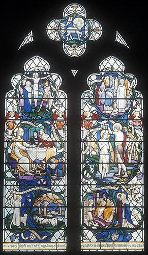 Life of Christ, twentieth century window by Christopher Webb, St Albans Cathedral window, Hertfordshire, England
