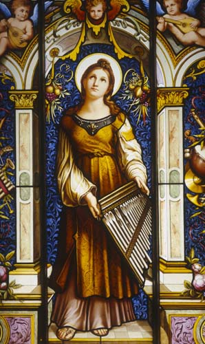 St Cecilia, 19th-20th century stained glass by F.X.Zettler and Company of Munich