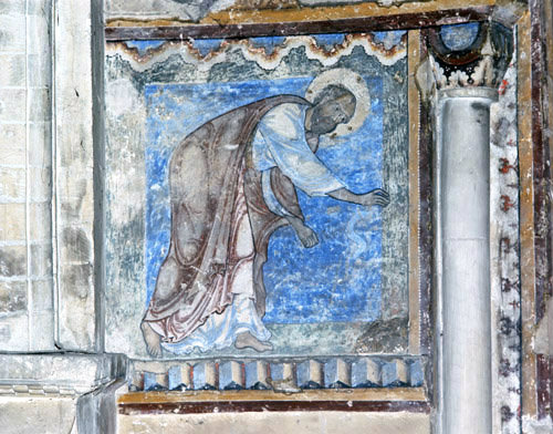 St Paul and the viper, 12th century wall painting, Chapel of St Anselm, Canterbury Cathedral, Kent, England, Great Britain