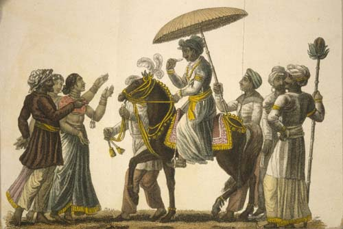 Hindustan engraving 1822, the bridegroom conducted in state to the house of the bride
