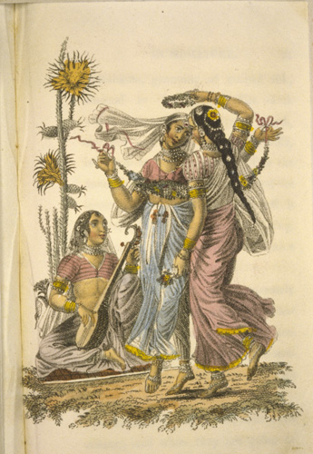 Devedassis or Bayaderes from The World in Miniature, Hindoostan, by Frederic Shoberl, 1820s, vol 3, p 50