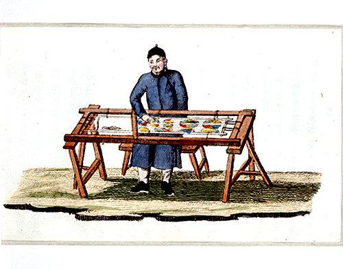 Chinese embroiderer, engraving from La Chine en miniature, 1811, by Jean Baptiste Joseph de la Martiniere