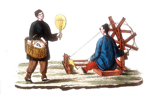 Chinese spinning cotton with a distaff, engraving from La Chine en miniature, 1811, volume II, by Jean Baptiste de la Martiniere