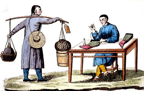 Stocking maker and viper seller, engraving from La Chine en miniature, 1811, by Jean Baptiste Joseph de la Martiniere