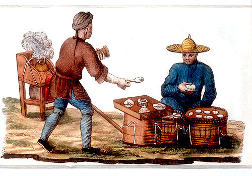 Travelling cook and hard boiled egg seller, engraving from La Chine en miniature, 1811, volume V, by Jean Baptiste Joseph de la Martiniere