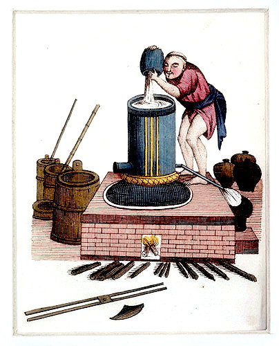 Chinese distillation of rice liquor, engraving from La Chine en miniature, 1811, by Jean Baptiste Joseph de la Martiniere