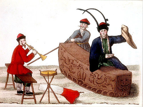 Three Chinese men, one playing a musical instrument, engraving from La Chine en miniature, 1811, by Jean Baptiste Joseph de la Martiniere