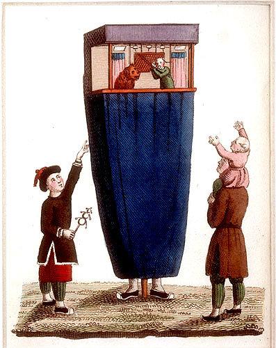 Chinese travelling puppet show, engraving from La Chine en miniature, 1811, by Jean Baptiste Joseph de la Martiniere