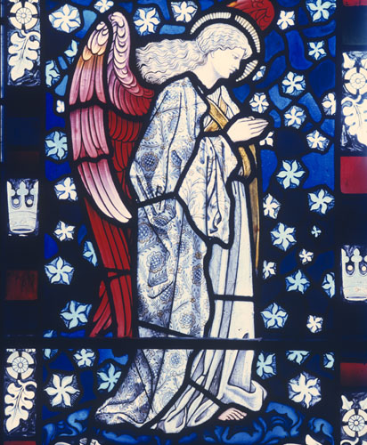 Praying angel by William Morris, designed by Edward Burne-Jones, 1882, Cattistock, Dorset, England, Great Britain