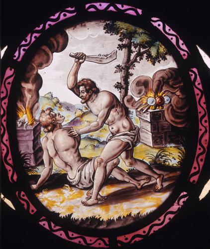 Cain slays Abel Netherlandish stained glass panel 16-17th century  St Marys Church Addington Buckinghamshire