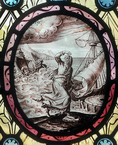 Jonah thrown overboard, seventeenth century Netherlandish oval, St Mary