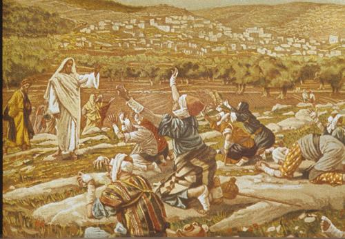 Ten lepers from the gospel of St Luke 17 v 12 - 19,  painting by James Tissot 1896, Great Britain