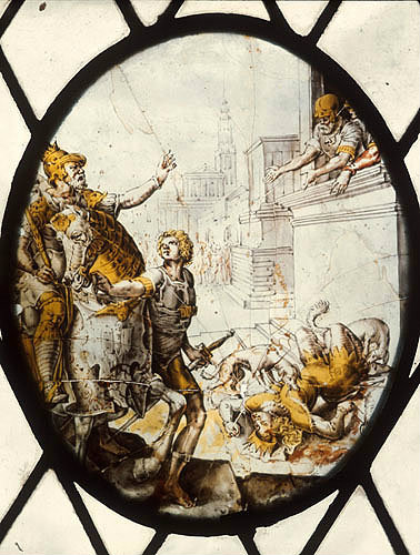 Jezebel thrown to the dogs, seventeenth century Flemish roundel, vestry of St Mary