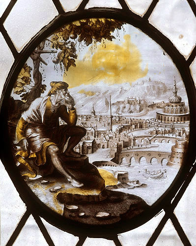 Jonah before Nineveh, sheltering under a vine, seventeenth century Flemish roundel in the vestry of St Mary