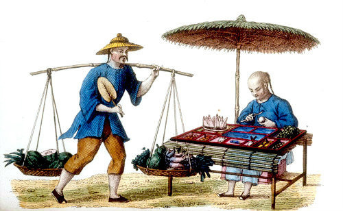 Chinese fruit and vegetable seller, engraving from La Chine en miniature, 1811, by Jean Baptiste Joseph de la Martiniere