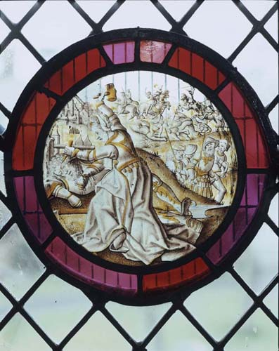 Sisera slain with a tent peg by Jael 17th century Flemish stained glass roundel Begbroke Church Oxfordshire ... & slain with a tent peg by Jael 17th century Flemish stained glass ...