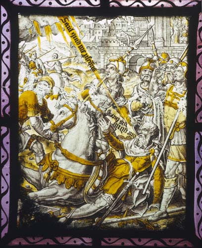 Conversion of Saint Paul, 16-17th century Netherlandish stained glass panel, Addington Church, Buckinghamshire, England, Great Britain