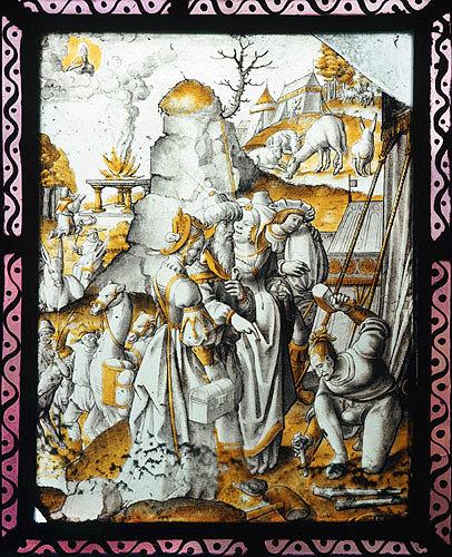 Abraham between Sarah and Hagar, sixteenth century Netherlandish panel, St Mary