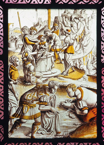 Joseph being put in the pit, centre, Reuben looking into the pit, background, Netherlandish panel, St Mary