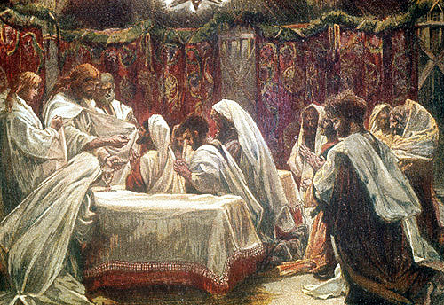 Institution of the Eucharist, Communion of the Apostles, nineteenth century painting by James Tissot, England