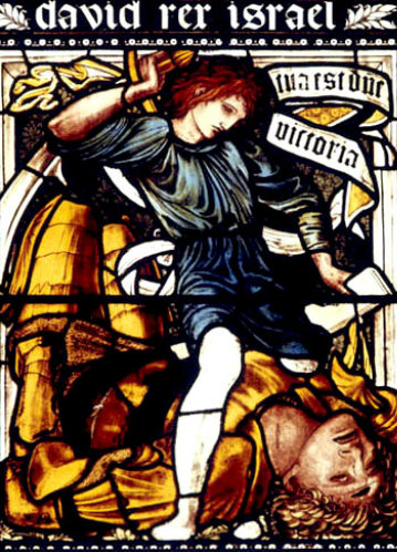 David and Goliath, 1870 stained glass by Edward Burne-Jones, Deans Chapel, Christ Church Cathedral, Oxford, Oxfordshire, England, Great Britain