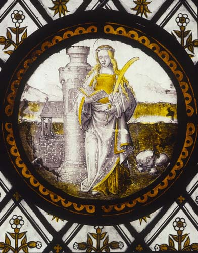 St Barbara, 16th century Flemish stained glass roundel, Church of St John, Rownhams, Hampshire, England, Great Britain