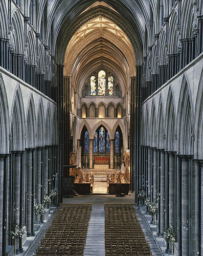 England, Salisbury Cathedral, Nave and Choir and The ...