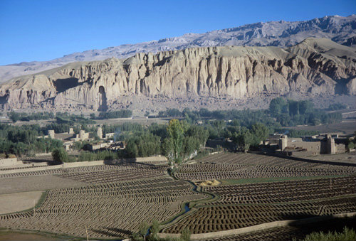 Afghanistan, Bamiyan panorama and rock-carved statue of buddha
