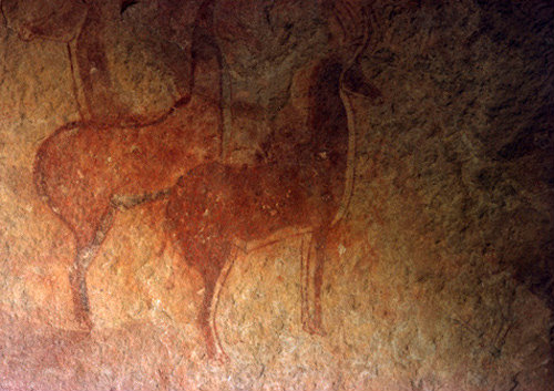 Algeria Tassili nAjjer cave painting the Antelope of Sefar, washed and retouched