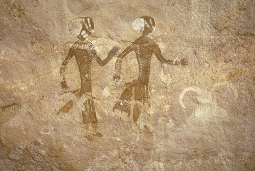 Algeria Tassili nAjjir cave painting, dancing girls