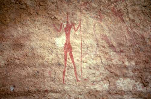 Algeria Tassili nAjjir cave painting, pin head warrior