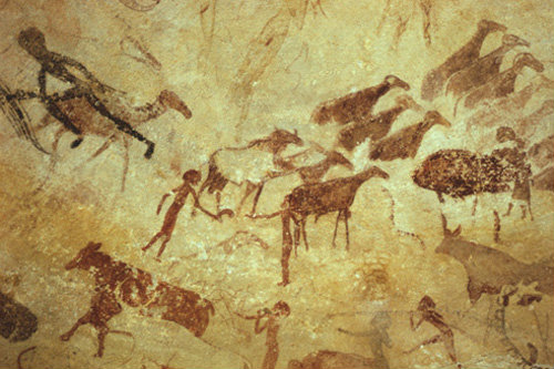 Algeria Tassili nAjjer rock painting of various animals, Sefar