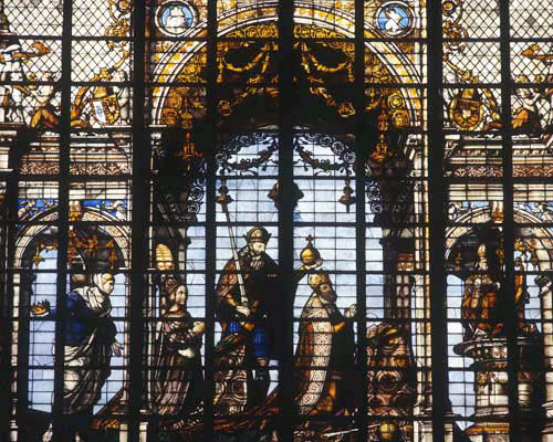 Charles V with his wife Isabella of Portugal, 1527, transept window, Cathedral of St Michael, Brussels, Belgium