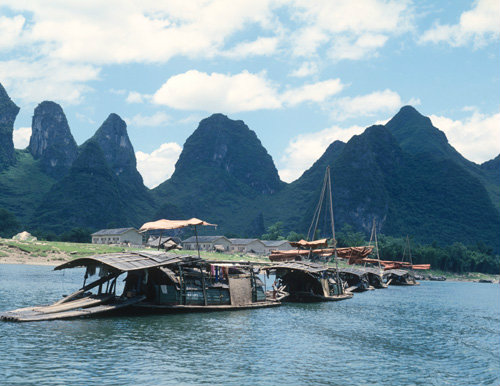 China Li River, Li Kiang, and limestone karst landscape