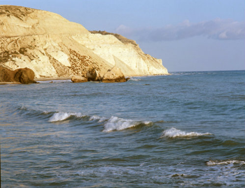 Paphos Cyprus bay on South coast where legend says that Aphrodite rose from the waves