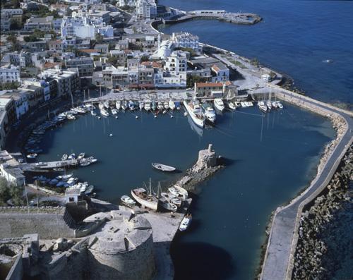 Kyrenia harbour looking west, aerial view, Cyprus